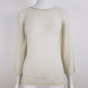 ARMAND DIRADOURIAN Ivory Cashmere Open Knit Top S